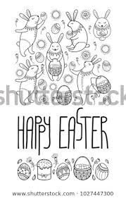 Card Outline Vector Happy Easter Card Outline Rabbit Stock Vector Royalty Free