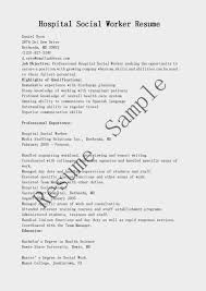 Gallery Of Resume Samples Hospital Social Worker Resume Sample