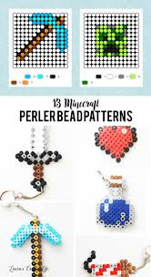 Beaded Keychain Patterns Gorgeous Minecraft Perler Bead Keychains Laura's Crafty Life