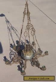 antique french louis xvi gothic gilt bronze hanging oil lamp chandelier for