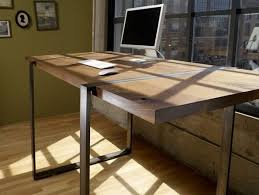 custom made walnut and steel standing work desk custommade custom office