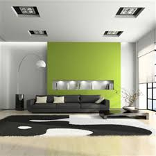 living room green wall panel and grey fabric sofa plus black white rug on the