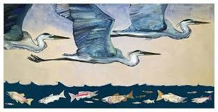 blue heron wood wall art herons flight at dusk birds canvas