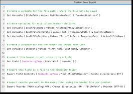 Export Custom Headers from FileMaker to Excel