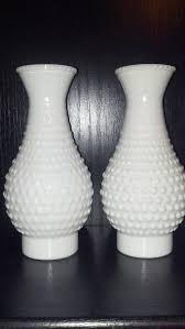 vintage pair hobnail milk glass hurricane oil lamp shade