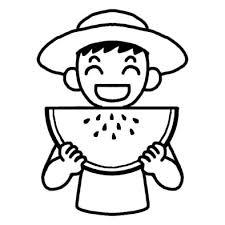 スイカ2夏の食べ物夏のイラスト無料白黒イラスト素材