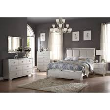 Acme Furniture Voeville II 4 Piece Bedroom Set, Matt Gold PU And Platinum