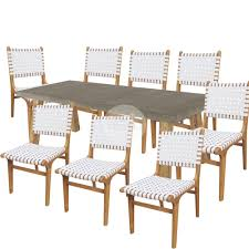 euro italia concrete dining table and 8 x jens risom chairs white hamptons furniture
