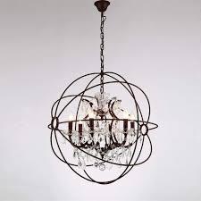 home rustic orb chandelier farmhouse pendant ceiling light crystal iron frame 6 light candelabra atom orbed