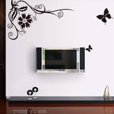 2015 brand new black style big butterfly floral wall art stickers home decor 3d wallpaper house decoration adesivo de parede in wall stickers from home  on house wall art with 2015 brand new black style big butterfly floral wall art stickers