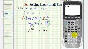 ex solve a logarithmic equation with a fractional exponent