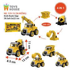 0620-TH4-129-15 - Đồ chơi lắp ghép DIY mô hình xe cần cẩu Toyshouse (hộp)