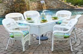 7 piece outdoor dining set white wicker