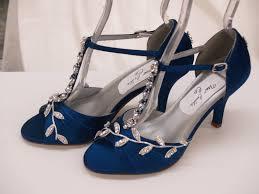 leave diamond close toe blue low heel wedding shoes