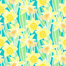 Daffodil Paper Flower Pattern Hand Drawn Vintage Floral Pattern With Daffodils Or Narcissus