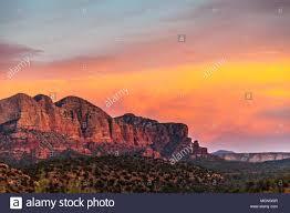 Light Show In Sedona Az Sunset Light Is Very Dramatic On Red Sandstone Rock Hills