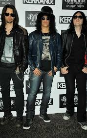 in true rock star form slash attended the kerrang awards garbed in leather and leather jacket
