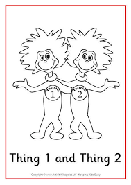 Thing And Thing Colouring Page Dr Seuss Colouring Pages On The Lorax