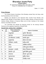 Mla List List Of Bjp Candidates For Ensuing General Election To The