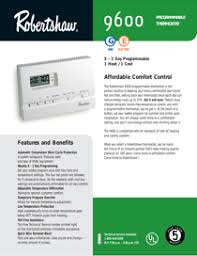 robertshaw programmable thermostats 9600 pdf user s manual also see for robertshaw 9600