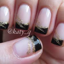 Black French Tip Nails With Designs Black tip nail art | nails ...