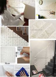white color 3d brick wall sticker self 70x80cm