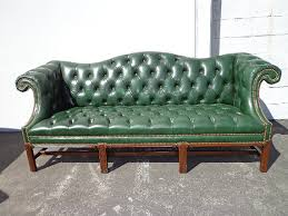 Tufted Leather Camelback Sofa Couch Chesterfield Sofa Green Couch Vintage  Rustic Lounge Settee Rolled Arm Tufted Leather Sofa Nail head trim