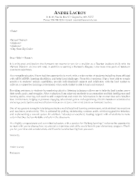 Teacher S Assistant Cover Letter Of Introduction Elementary School