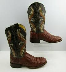 Cavenders Mens Caramel Leather Square Toe 8 5 D Cowboy Boots