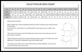 Taylor Charts Tally Taylor Size Chart
