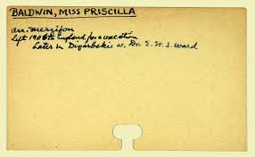 Digital Library for International Research Archive | Personnel records for Priscilla  Baldwin