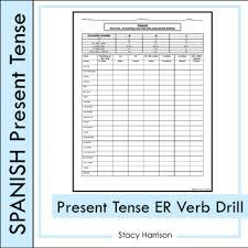 Er Chart Spanish Spanish Present Tense Er Verb Drill Los Verbos Er