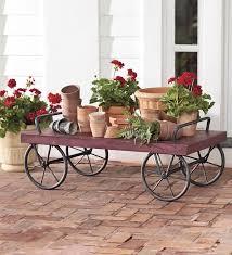 indoor outdoor rolling antique red metal cart outdoor garden cart