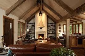 living room faux wood beams living room rustic with barn bookshelves cathedral ceiling living room