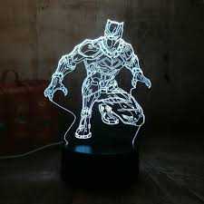 Night Light Cool Black Panther Marvel Hero 3d Led Rgb 7 Color Change