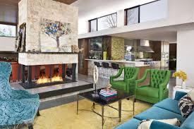 charming eclectic living room ideas. Charming Eclectic Living Room Interior Design With Blue And Green Armchair Plus Sofa Also Fireplace Permanent Dividers As Well Swivel Barstools Ideas