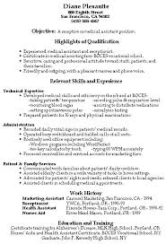 sample resume for a receptionist sample resume objectives medical