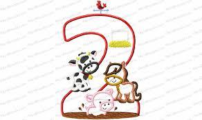 Animal Applique Designs Farm Animal 2nd Birthday Applique Embroidery Design