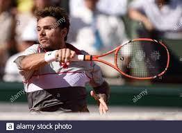Stanislas Wawrinka aus der Schweiz tritt am 15. Tag des French Open 2015 in Roland  Garros am 7. Juni 2015 in Paris, Frankreich, im Finale der Herren-Singles  gegen Novak Djokovic aus Serbien