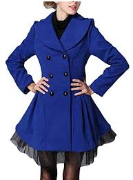Buy Yayun Women <b>Lace Hem Double-Breasted</b> Wool Blend Trench ...