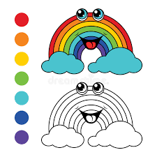 coloring book rainbow kids layout for game stock vector ilration of colorful