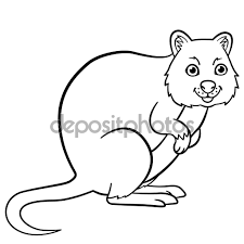 Small Picture Quokka Animal Coloring Pages Cartoon Page Stock Illustration