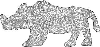 rhino coloring book ilration vector
