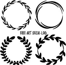 ベクター素材月桂樹ラウンドフレーム01 Free Art Sozai Log