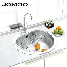 a sink kitchen sink stainless steel single bowl round shape sink strainer set drain brush finish a sink