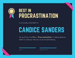 Best In Procrastination Certificate Templates By Canva
