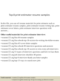 Free Cover Letters To Print Top 8 Print Estimator Resume Samples