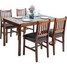 harper bright designs 5 piece wood dining table set 4 person home kitchen table and chairs