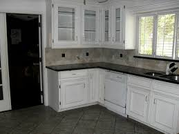 Concept White Kitchen Dark Tile Floors Utilizes The Large To Perfect Ideas