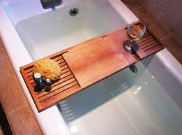 image of wooden bathtub trays